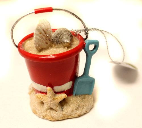 Christmas Decoration 3 Inch Beach Pail with Shells and Shovel