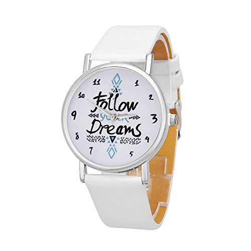 Casio Titanium Bracelet (Delicate women watch Women Follow Newest Hot Girls Bracelet Watch Women Dream Words Pattern Leather.)