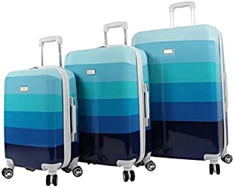 """Nicole Miller Rainbow Hard-Sided 3-Piece Spinner Set: 28"""", 24"""", and 20"""" (Blue)"""