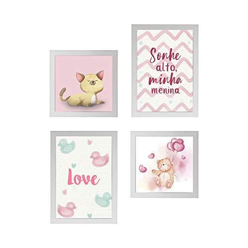 Conjunto Quadros Decorativos Infantil Rosa Moldura Branca 58x58cm - Prolab Gift