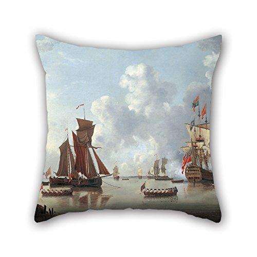 King Of Hearts Costume Nz (Slimmingpiggy Throw Pillow Covers Of Oil Painting Francis Swaine - The Landing Of The Sailor Prince At Spithead,for Dining Room,bedroom,family,him,lounge,outdoor 16 X 16 Inches / 40 By 40 Cm(2 Side)