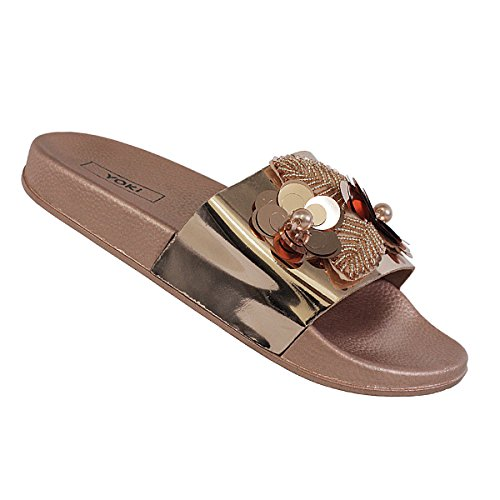 Embellished Metallic (Yoki Womens Open Toe Metallic Embellished Floral 3D Vamp Beach Riri-285 Pool Slides Sandals (10, Rose Gold))