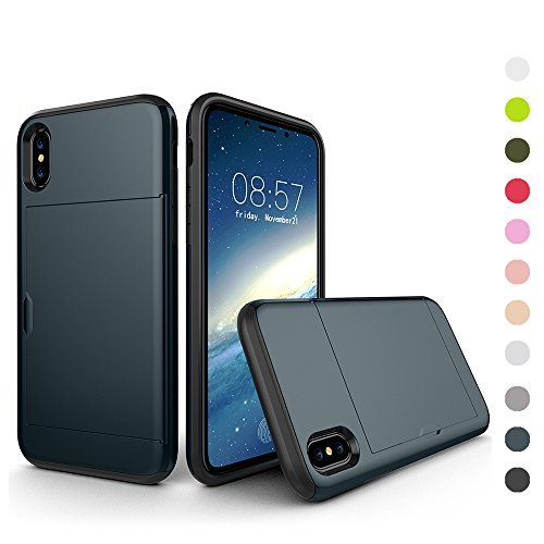 - Case Compatible iPhone XR Slim Sliding Back Door Card Holder Hybrid TPU PC Cover Navy Blue