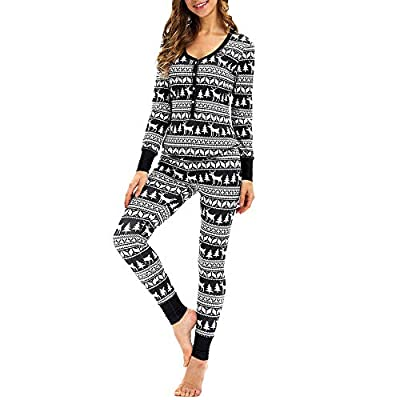 Christmas Elk Pajamas Set for Women Matching Long Sleeves Tops Blouse+Pants