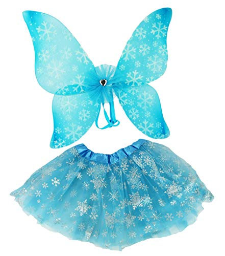 Set of Tutu Costume Set! Ice Princess, Witch, Clown, and Pumpkin Patch Fairy! Wings and Headbands! (Ice Princess)