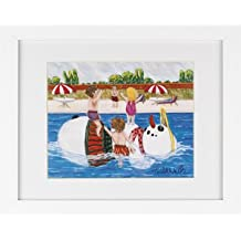 Snowman in Pool - Snowmen Winter Art Print