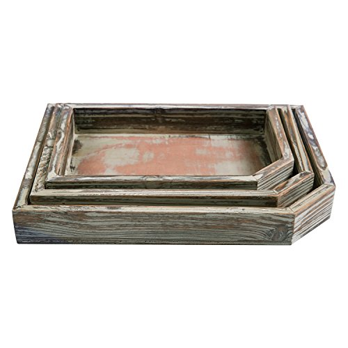 Set of 3 Rustic Torched-Wood Nesting Breakfast Server Butler Trays with Chamfered Corners (Breakfast Tray Set)