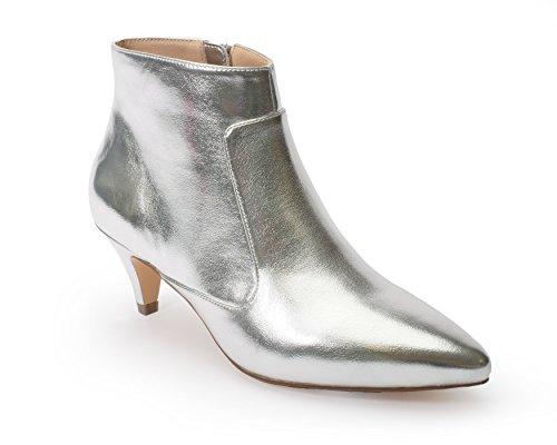 Jane and the Shoe Women's Kizzy Silver Metallic Kitten Heel Ankle Boot Size 9