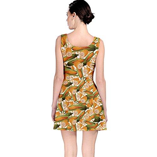 Cowcow Femmes Légume Coloré Nourriture Organique Tige De Maïs Jaune Robe De Patineur De Motif