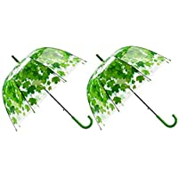 Acchen Clear Rain Umbrella Automatic Open Clear Shade Flower Leaves Bubble Dome Shape Transparent Maple Leaf Umbrellas (2 Pack Green)