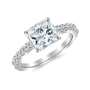 1.43 Cttw 14K White Gold Princess Cut Classic Prong Set Diamond Engagement Ring with a 1 Carat I-J Color VS1-VS2 Clarity Center