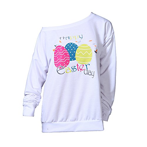 Taiduosheng Women's White Happy Easter Day Gift Off-Shoulder Tops Sweatshirt Long Sleeve Easter Eggs Pattern Blouses XL