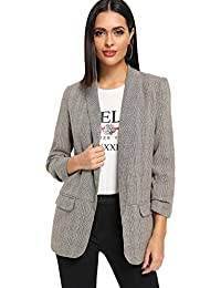 Women's Shawl Collar 3/4 Ruched Sleeve Open Front Blazer Jacket