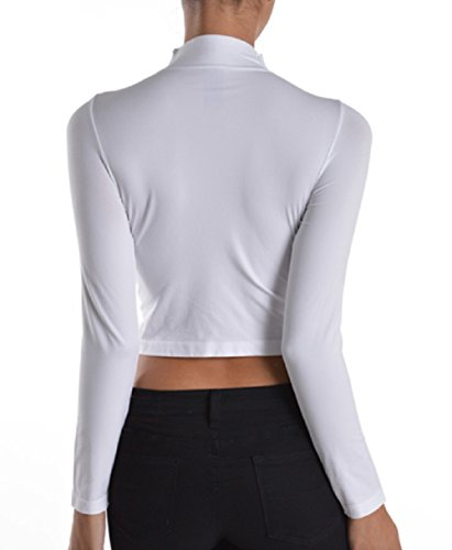 Womens Ladies Missy Fashion Seamless Mock Neck Crop Top With Long Sleeves
