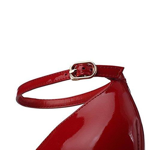 AllhqFashion Mujeres Charol Hebilla Puntera Abierta Tacón de aguja Sólido Sandalia Rojo
