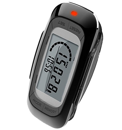 MAYMOC Multifunctional 3D Pedometer with Clip and Strap – Accurate Step Counter, Distance Miles and Km, Calorie Counter,7 Day Memory, Daily Target Progress Monitor, Exercise Time 12 Month Warranty