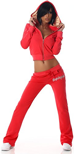 Jela London Slim Fit Chándal para mujer con capucha, logo de lentejuelas y Impacto Pantalones (32–�?8) albaricoque