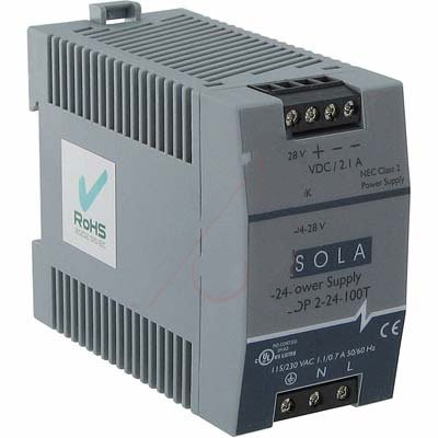 SOLA-HD SDP2-24-100T, Power Supply; AC-DC; 24V@2.1A; 85-264V In; Enclosed; DIN Rail Mount; SDP Series