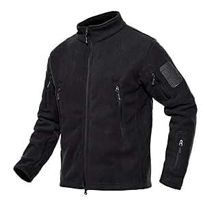 ChangNanJun Men's Full Zip Stand Collar Tactical Fleece Jacket 2XL Black