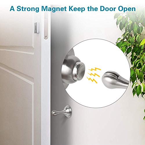 Door Stopper, 2 Pack Magnetic Door Holder, Stainless Steel Magnetic Door Catch, 3M Double-Sided Adhesive Tape, No Drilling, Screws for for Bedroom Bathroom Kitchen Home Office