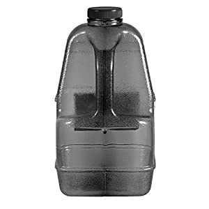 "1 Gallon BPA FREE Reusable Plastic Drinking Water Big Mouth ""Dairy"" Bottle Jug Container with Holder - Black"
