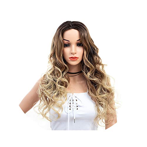 Ombre Brown Ash Grey Long Wavy Wigs for Women Long Natural Hair Synthetic Wig High Temperature Density Red ()