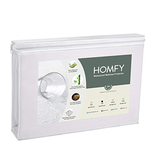 HOMFY Full Premium Hypoallergenic Waterproof Mattress Protector, Deep Pocket Fitted Sheet (18), Anti-Dust Mite and Soft Breathable (White, Full)