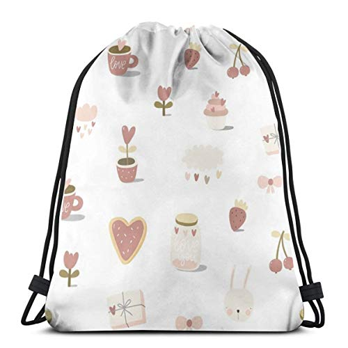 - Romantic Love Pattern Heart Tenderness Summer_4975,Drawstring Backpack Gym Spacious Pull String Backpack for Sport School Traveling Gym Basketball Yoga 13x18 inch