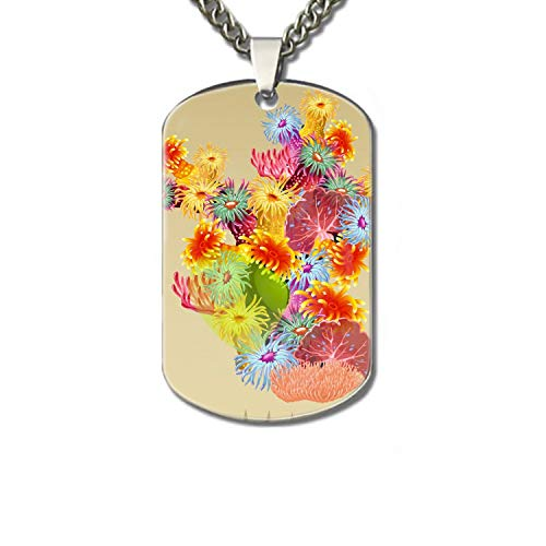 WYIOU Dog Tag Chains-Colourful Bush Corals and Polyps Family pet Identification Card (Star Polyp Coral)
