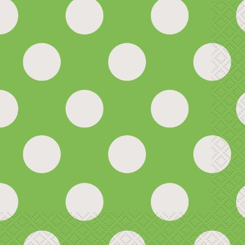 (Lime Green Polka Dot Beverage Napkins, 16ct)