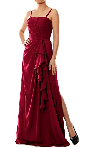 Dress Long Straps Gown Chiffon Weinrot Women Bridesmaid Evening Spaghetti MACloth Formal wUPaqnY