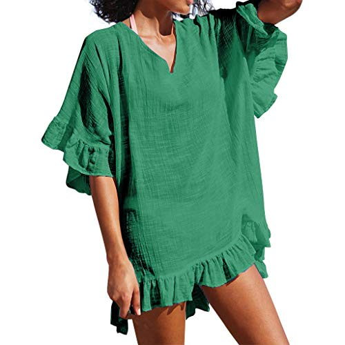 QIQIU 2019 Women's Fashion V-Neck Solid Cover Up Ruffle Half Sleeve Sexy Bathing Suit Swimsuit Smock Summer Dress Green -