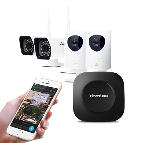CleverLoop smart WiFi security camera system with 2 indoor +2 outdoor WiFi security cameras & Rapid Learning. Security kit incl Base, 4 cameras, security app, no monthly fees- Home & (Base Station Kit)