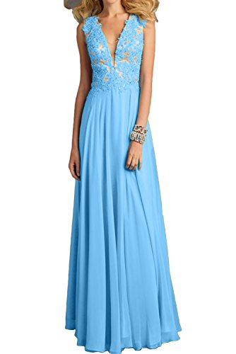 Neu Ivydressing Lang Paillette Promkleider Damen Neck Blau Ballkleider Applikation V Abendkleider q5U4r5