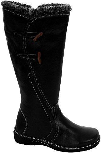 Fantasia Noir Fausse pour Cuir Bord Femmes Vrai Hauteur Mollet Femmes Côté Boutique Chevilles Fourrure Chaussures Bottes RxrqRU