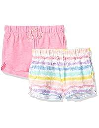 Spotted Zebra Amazon Brand - Pantalones Cortos de Punto con diseño de Cebra para niñas y niños, Paquete de 2