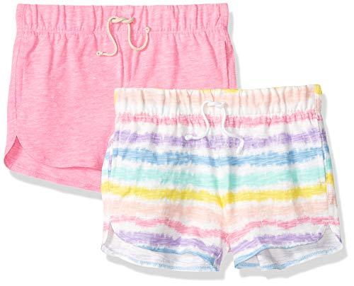 Spotted Zebra Little Girls' 2-Pack Knit Dolphin Hem Shorts, Tie Dye Stripe/Pink, Small ()