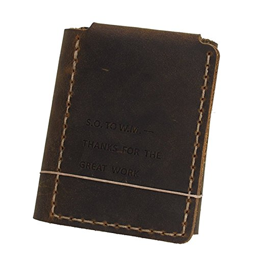 Mens Handmade Wallet Genuine Leather Slim Bifold Wallet(BROWN) (Secret Life Of Walter Mitty Wallet Quote)