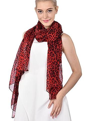 ADVANOVA Women's 100% Silk Scarf Summer Lightweight Large Size Red Leopard Print Free Gift Wrap Box