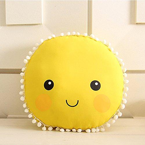 zantec Cute suave peluche cara sonriente sol almohada, algodón, con relleno asiento trasero cojín, bebé Kids Dormitorio muñeca juguetes regalo de cumpleaños