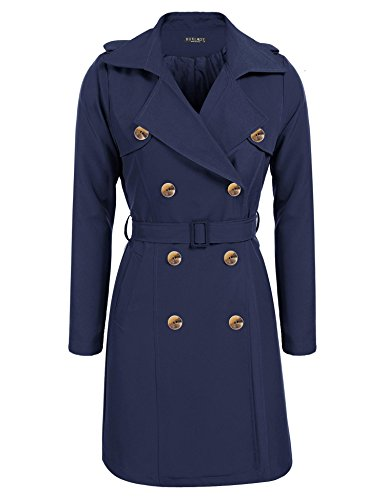 BURLADY Women's Lapel Double-Breasted Trench Coat With Belt Navy Blue (Blue Trench Coat)