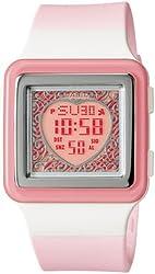Casio Women's LDF21-4AV Pink Resin Quartz Watch with Pink Dial
