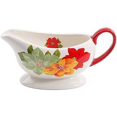 The Pioneer Woman Poinsettia Ceramic Gravy Boat, Multicolored, Dishwasher/Microwave Safe