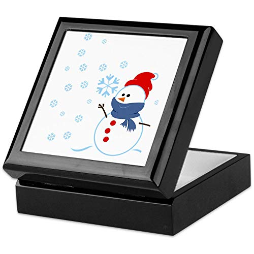 (CafePress Cute Snowman Keepsake Box, Finished Hardwood Jewelry Box, Velvet Lined Memento Box)