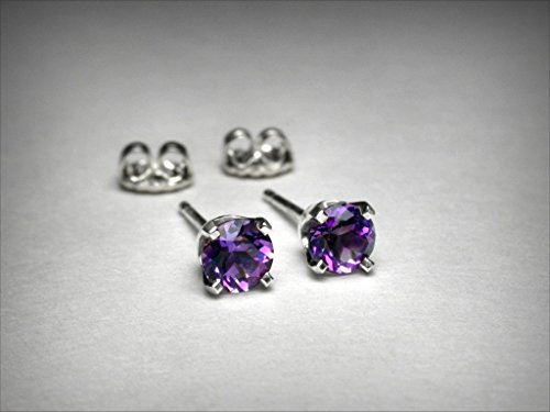 (Genuine amethyst earrings, in 14K white gold. AAA quality natural amethysts. Amethyst stud)