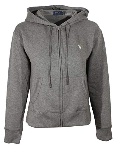 Polo Ralph Lauren Womens Full Zip Hoodie (X-Large, Grey (White Pony))