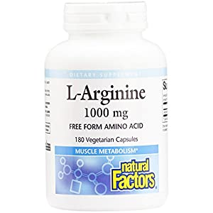 Natural Factors L Arginine, Supports Muscle Metabolism, 180 Vegetarian Capsules