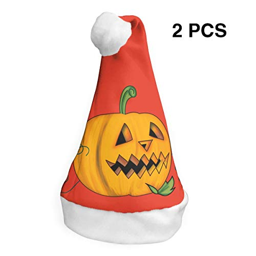 Santa Claus Hat Halloween Creepy Pumpkin Merry Christmas Hats Adults Children Costume Xmas Decor Party Supplies (2-Pack)]()
