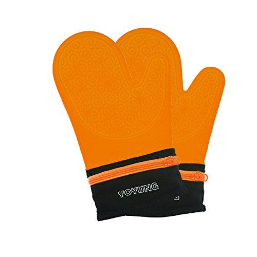 YOYUNG Detachable Silicone Oven Mitt - Oven Mitts with Quilted Cotton Lining -1 Pair of Professional Heat Resistant Potholder Gloves - Washable - Orange