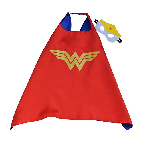 Toddler Boy Girl Super Heroes Costumes with Satin Cape and Felt Mask (Wonder (Wonder Twins Halloween Costume)
